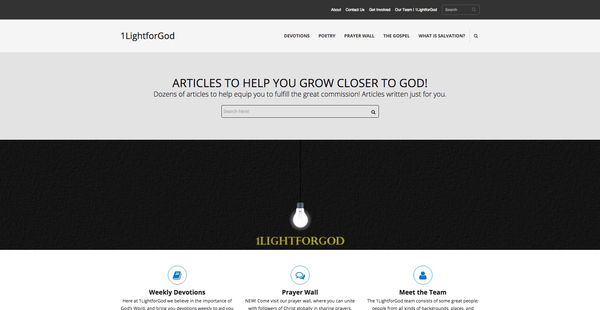 Custom website for 1LightforGod based in Jackson, Mississippi.